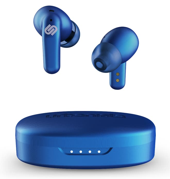 Urbanista Seoul Wireless Earbuds blue above charging case