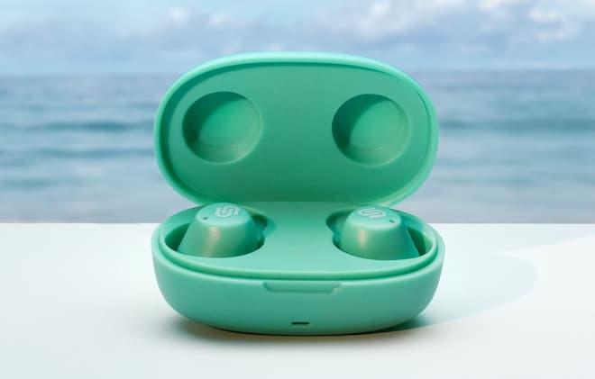 Urbanista Lisbon Wireless Earbuds mint green inside charging case