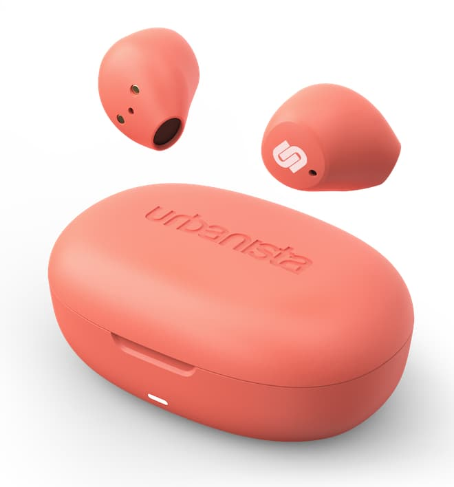 Urbanista Lisbon Wireless Earbuds in peach with charging case