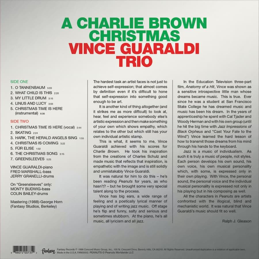 A Charlie Brown Christmas LP Sleeve Back