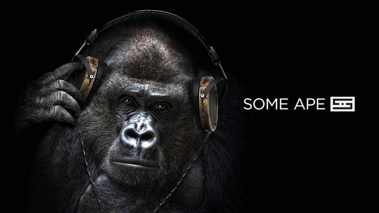 Ape wearing Audeze LCD-R Headphones