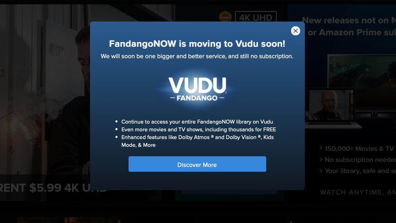 VUDU FandangoNOW Announcement