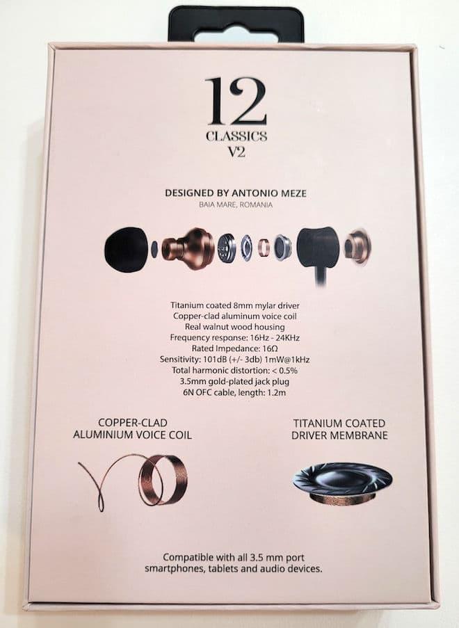 Meze Audio 12 Classics V2 In-ear Headphones Box Rear