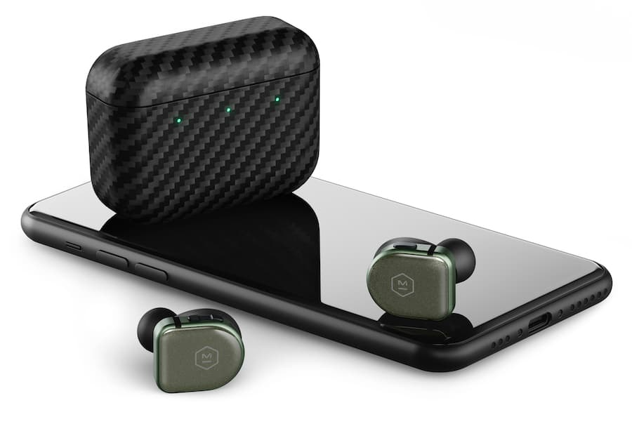 Master & Dynamic MW08 Sport Wireless Earphone Green with Case atop smartphone