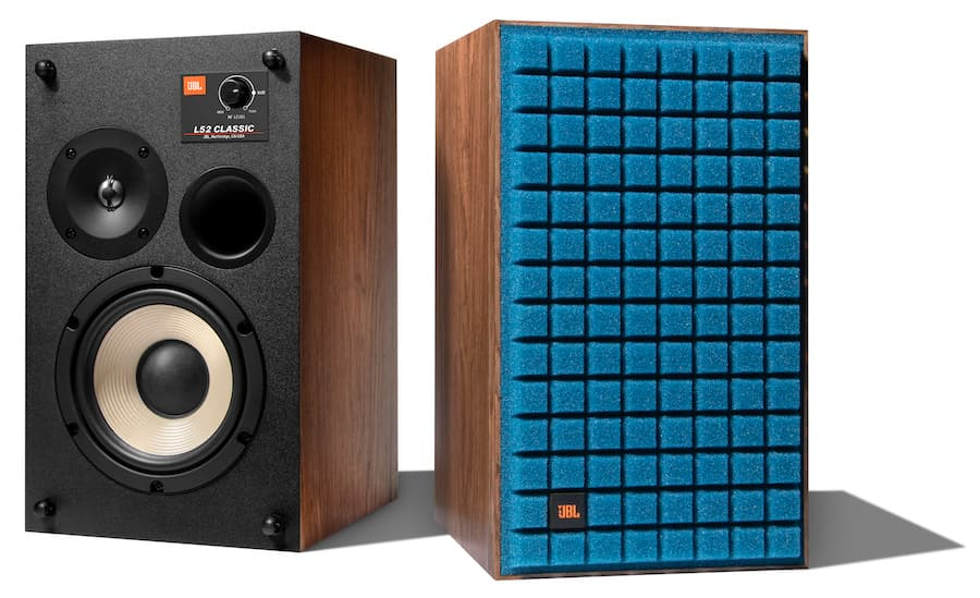 JBL L52 Classic Loudspeakers Blue Pair Grille On and Off