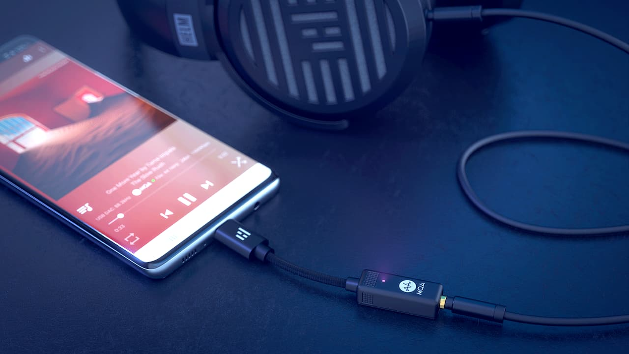 Helm Audio Bolt DAC connected to smartphone and headphones