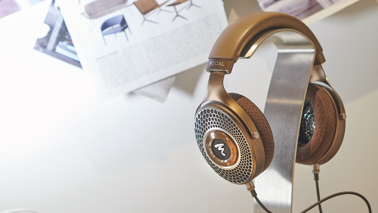 Focal Clear Mg Open-Back Headphones on Stand