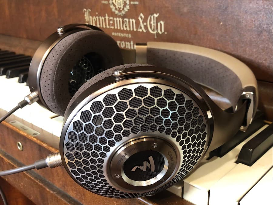 Focal Clear Mg Open-Back Headphones on Piano