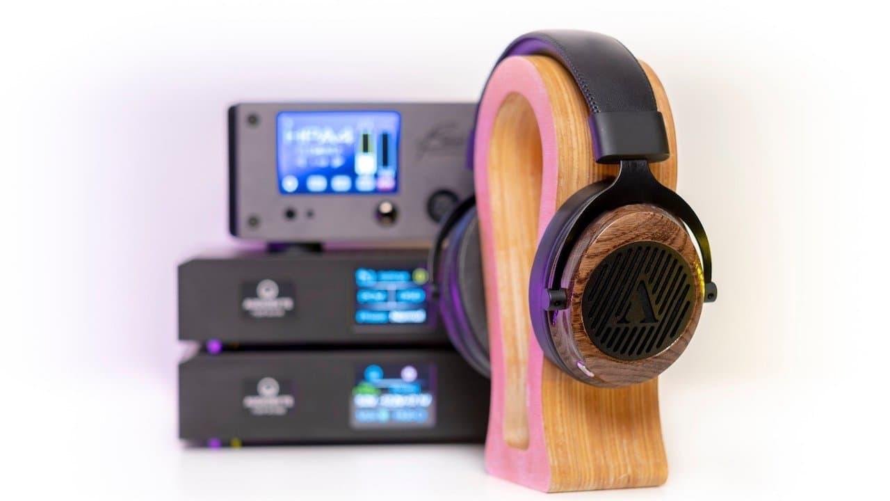 Apos Caspian Open-Back Headphones on stand