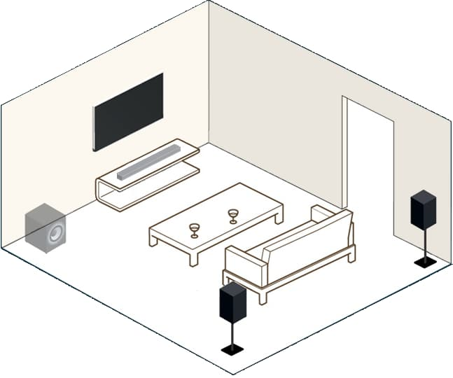 DTS Play-Fi with TV Soundbar optional subwoofer / surround speakers