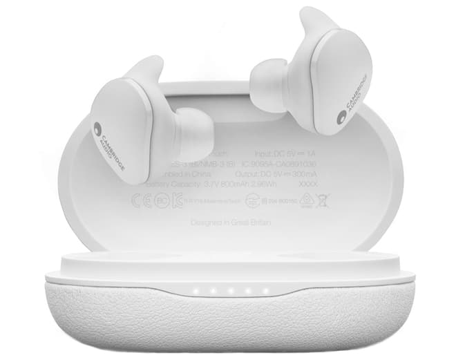 Cambridge Audio Melomania Touch Wireless Earbuds White Floating with Open Case