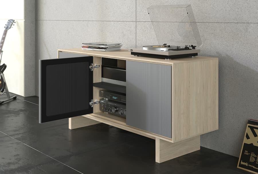 BDI Octave 8377 Media Cabinet in Drift Oak Showing Soundbar Lifestyle