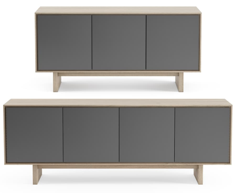 BDI Octave 8377 and 8379 Media Cabinets in Drift Oak
