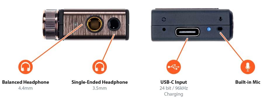 iFi Go Blu Portable DAC Headphone Amplifier Connections