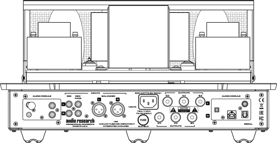 Audio Research I/50 Integrated Amplifier Rear Drawing