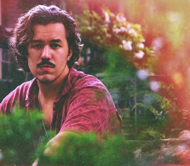 Luke Lasso in a garden