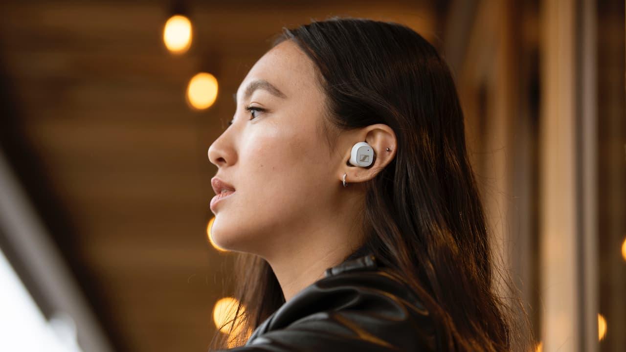 Sennheiser CX Plus True Wireless White Earbuds Lifestyle Woman