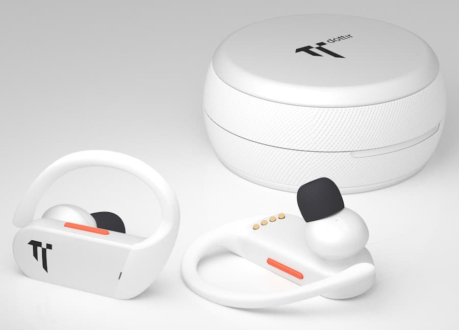 Dottir Freedom On-Grid Wireless Sport Earphones White next to Charging Case