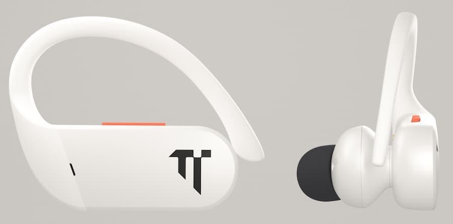 Dottir Freedom On-Grid Wireless Sport Earphones White Side and Back Views
