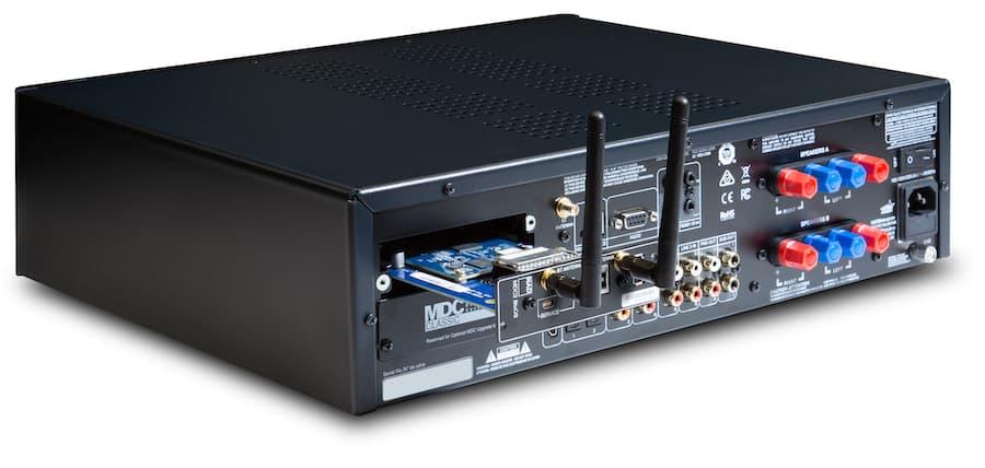 NAD C 399 HybridDigital DAC Amplifier Rear Angle with MDC Card