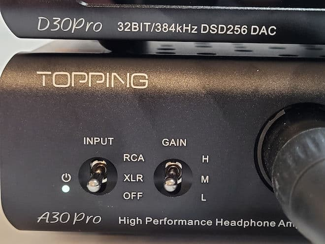 Topping A30Pro Headphone Amplifier Switches