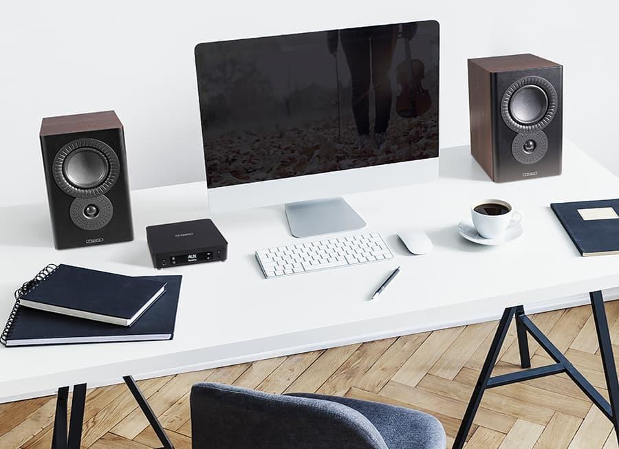 Mission LX Connect Wireless Desktop Speaker System Walnut