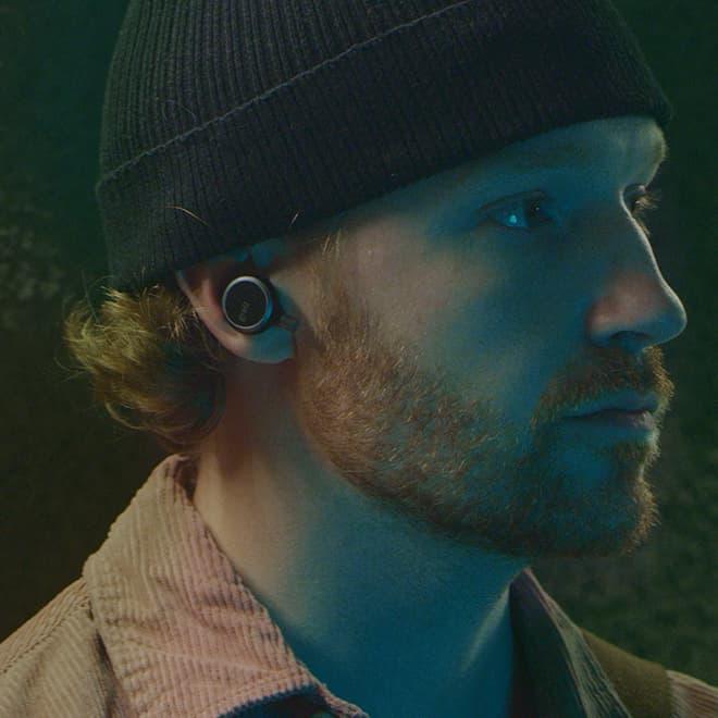 Man wearing Grell Audio TWS/1 Wireless Earphones