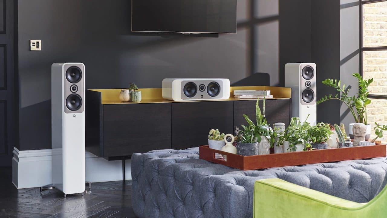 Q Acoustics Concept 50 Floorstander and 90 Center Channel Home Cinema Loudspeaker System White Lifestyle