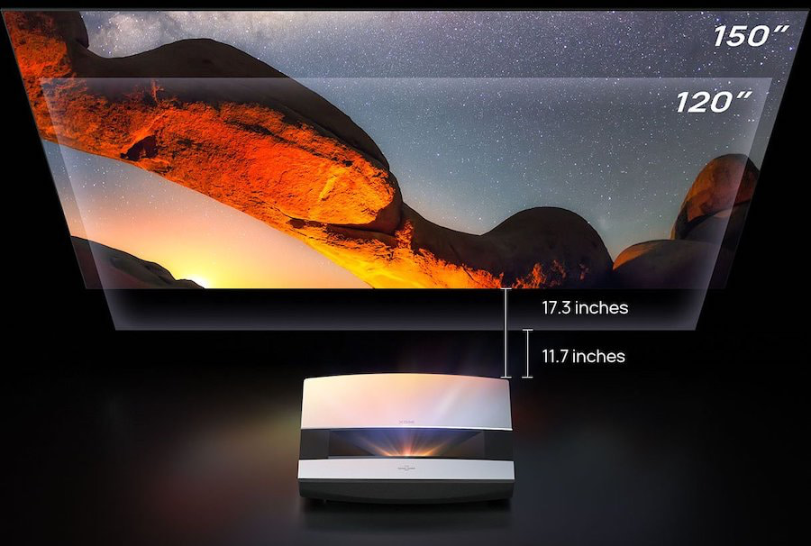 XGIMI Aura 4K UST Projector inches from the wall