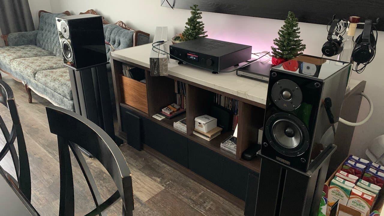 Focus Audio Model 68 Bookshelf Speakers Black Pair on Stands