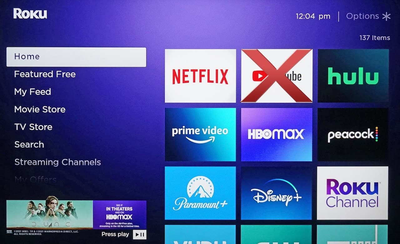 Roku Home Screen with YouTube App Crossed Out