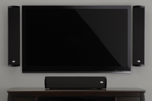 PSB Imagine W1 with grilles around TV