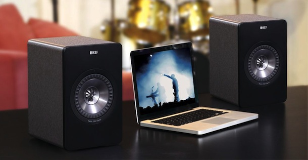 KEF X300A Speakers with Mac