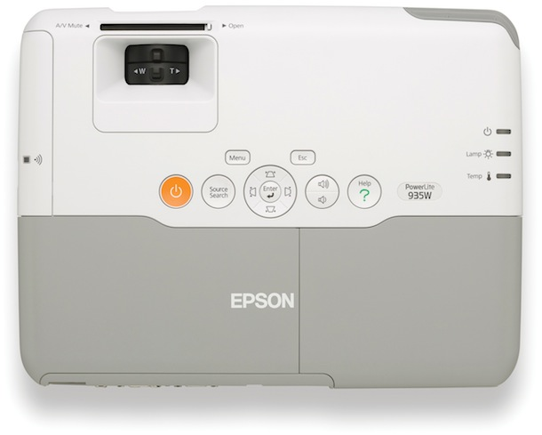 Epson PowerLite 935W WXGA 3LCD Projector - top