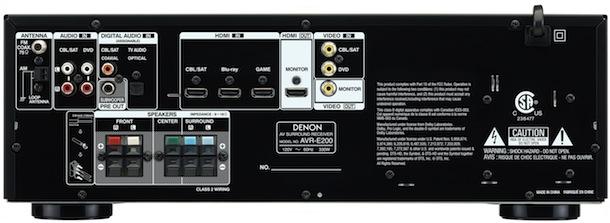 Denon AVR-E200 A/V Receiver - back