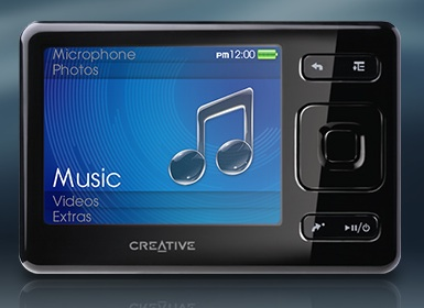 how to turn on a creative zen mp3 player