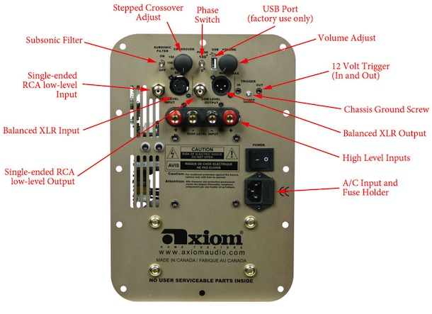 Axiom Subwoofer Controls