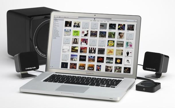 Cambridge Audio Minx M5 behind Macbook Pro