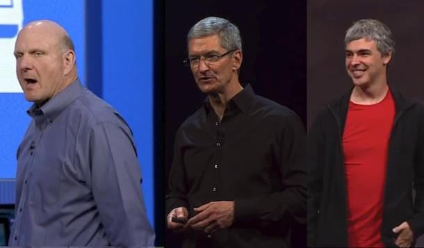 Steve Balmer, Tim Cook, Larry Page