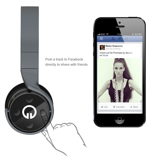 Muzik Smart Wireless Headphones with Facebook