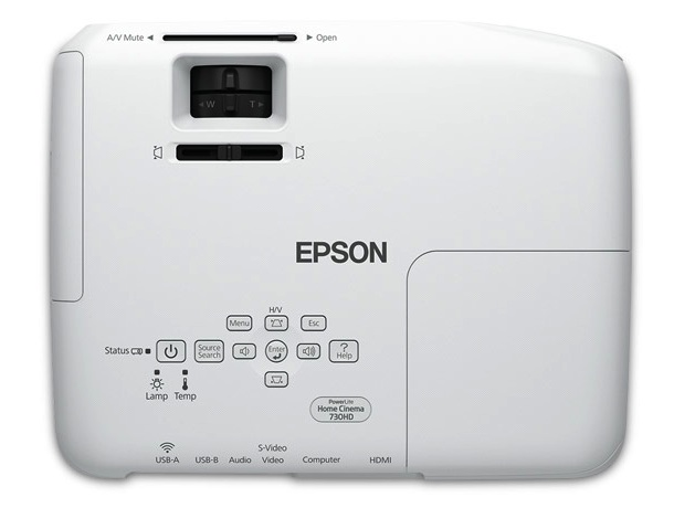 Epson PowerLite Home Cinema 730HD 3LCD Projector Top