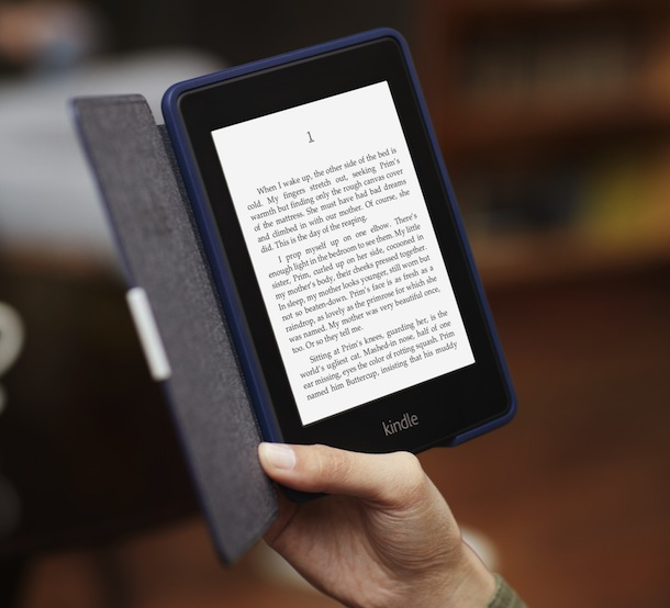 Amazon Kindle Paperwhite with cover in hand