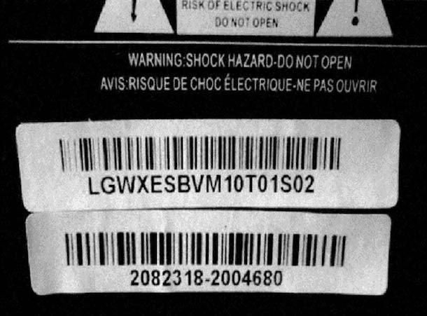 Coby HDTV Recall Serial Number