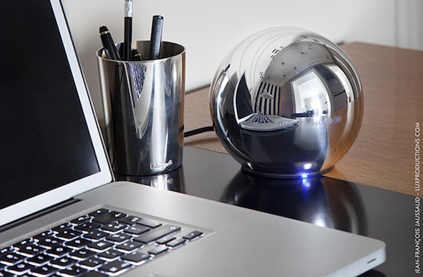 LaCie Christofle Sphere 1TB Hard Drive on Desk
