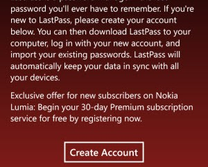 LastPass (for Windows Phone)